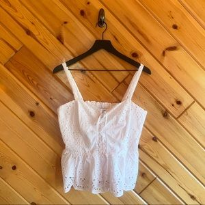 Cupcakes & Cashmere Crop Eyelet Lace Up Top Medium